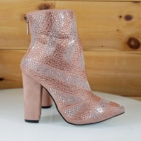 CR Mauve Rose Rhinestone Chunky High Heel Ankle