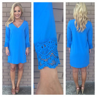 Blue Belle Crochet Sleeved Dress