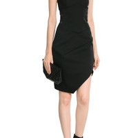 Alexandre Vauthier - Asymmetric Wool Dress with Sheer Inserts