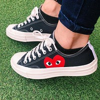 """""""Converse"""" Play Red Heart Fashion Canvas Flats Sneakers Sport Shoes Low Tops Black"""
