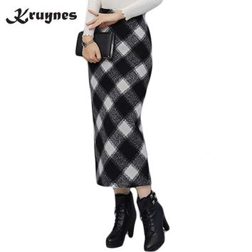 Plaid Pencil Skirt With High Waist Fashion Vintage Casual long Skirts Womens Open Slit Wool Prints Skirt Women