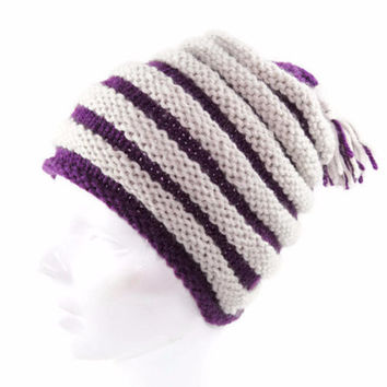 Knitted Girls Slouchy Hat, Striped Slouch Hat,  Hand Knit Girls Ski Hat, Tassel, Purple, Silver, Dove Grey
