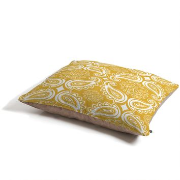 Heather Dutton Plush Paisley Goldenrod Pet Bed