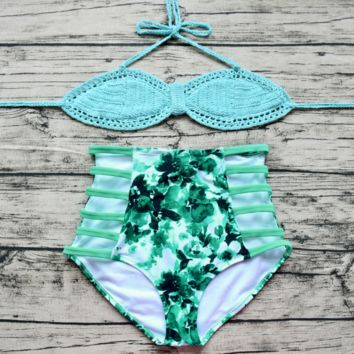 Mint Green Handmade Crochet  High Waist Bikini Set Beach swimsuit Bk046