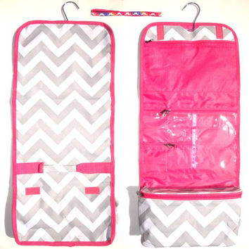 Gray Chevron with Pink Trim Hanging Toiletry Cosmetic Makeup Packing Organizer Case by TravelNut® Popular Unique Cool Birthday Stocking Stuffer Christmas Gift Idea Sister Female Girlfriend BAE