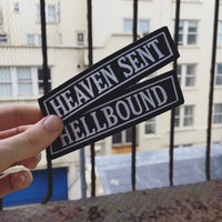 Heaven Sent / Hellbound Patch -Life Club- denim jacket patch, leather jacket, woven patch, punk patch, biker patch, canvas patch