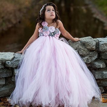 Pink and Grey Flower Girl Tutu Dress