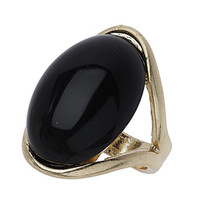 Black oval stone ring - Rings - Fashion Jewellery  - Accessories