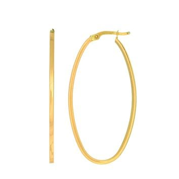 14K Yellow Gold 1.7X20X40mm Shiny Square Tube Ova L Hoop Earring with Hinged Clasp