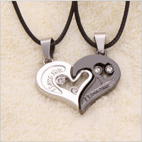 2015 New Fashion Men Women Lover Couple Necklace I Love You Heart Pendant Stainless Steel Jewelry Gifts Present = 1929680260