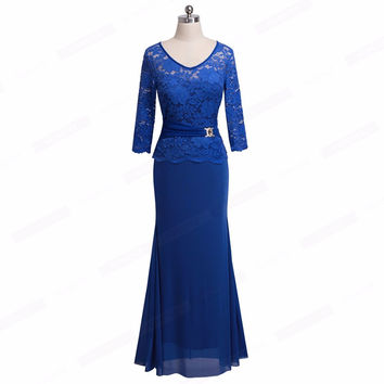 Elegant V Neck Flroal Lace Scalloped Peplum Long Maxi Dress Women Sexy Evening Gown For Special Occa
