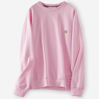 Maison Kitsun Casual Long Sleeve Sport Top Sweater Pullover Sweatshirt Pink