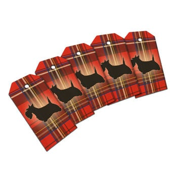 Scottie Dog on Red Plaid Scottish Terrier Wood Gift Tag Set