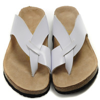 2017 New STYLE Birkenstock Summer Fashion Leather Cork Flats Beach Lovers Slippers Casual Sandals For Women Men Couples Slippers size 36-45 mac 562