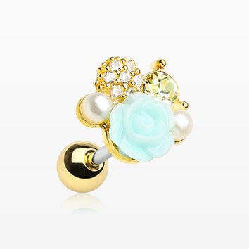 Golden Blossom Rose Sparkle Cartilage Tragus Earring