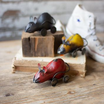 Set of 3 Recycled Metal Mice On Wheels
