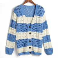 V Neckline Cardigan with Cut Out Detail and Stripe Print