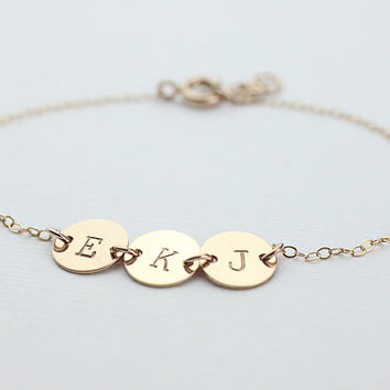 Personalized Initial bracelet.  three gold filled disc Bracelet, Friendship, gold filled bracelet.