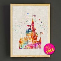 Disney Castles Watercolor Art Print Sleeping Beauty Castles Poster House Wear Wall Decor Gift Linen Print - Disney - Buy 2 Get 1 FREE -92s2g