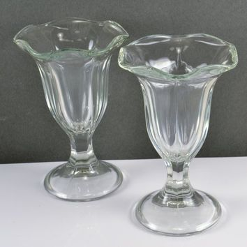Parfait Sundae Glasses Set of 2 Ice Cream Dish .Tulip Shape Heavy Glass Soda Shoppe Shop Milkshakes Layered Desserts
