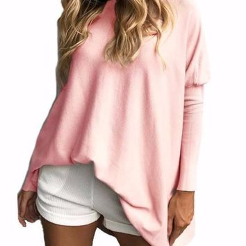 Women's Long Sleeve Pink Tunic Length Dolman Sleeve T-shirt Top/Tunic