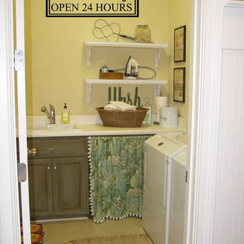 Laundry Room wall decal-Self Serve Laundry open 24 hours-Vinyl Wall Decal-Wall words-wall lettering