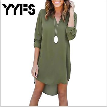YYFS High Quality Autumn Dresses 2017 Fashion Women Casual Loose Plus Size Elegant Dress Long Sleeve Irregular Chiffon Dress