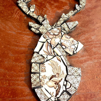 Stag Deer Wall Hanging Art. Mounted Buck. Woodland China Mosaic Artwork. Unique OOAK Mixed Media Hipster Hunter Home Decor.