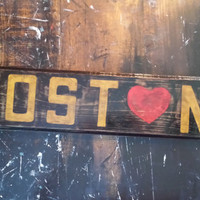 Handcrafted Boston Love sign