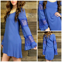 Sweet Vibes Indigo Blue Lace Bell Sleeve Dress