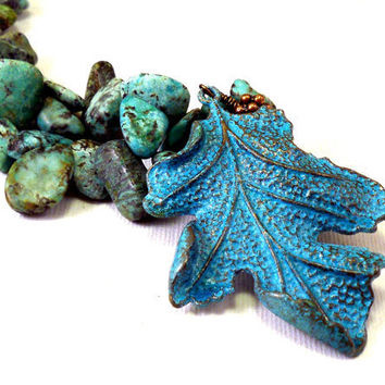 Turquoise necklace natural turquoise blue necklace by NatureLook