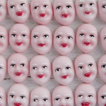 Singing Elf Faces, Pink - Miniature Plastic Face Cabochons for Crafts, 8 Pcs.