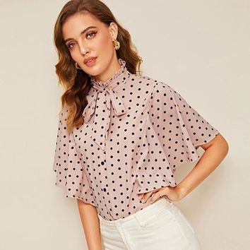 Polka-Dot Tie Frilled Neck Flutter Sleeve Top Vintage Button Front Stand Collar Womens Tops Blouses