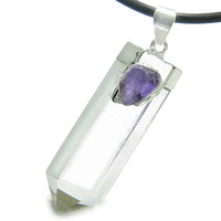 Astrological Aquarius Amulet Crystal Point Amethyst Pendant 18 Inch Necklace
