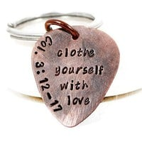 Bible Verse Personalized Copper Guitar Pick Keychain.