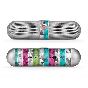 The Trendy Colored Striped Abstract Cube Pattern Skin for the Beats by Dre Pill Bluetooth Speaker