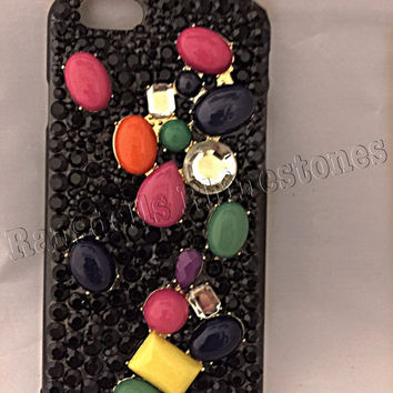 iPhone 6 cell phone case, black cell phone case, black iPhone 6 phone case, Ransdell's Rhinestones, bling cell phone case
