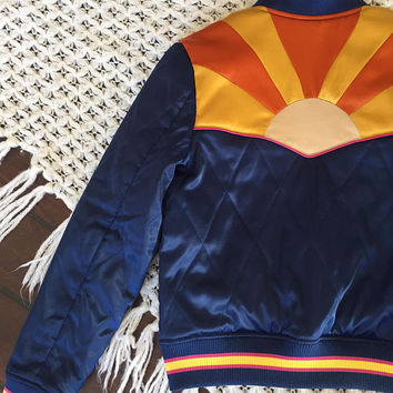 PREORDER Rising Sun Bomber Jacket |Navy Blue gold Burnt Orange Sunburst Back Patch 1970s retro Bomber cropped quilted ski jacket | 70s 60s