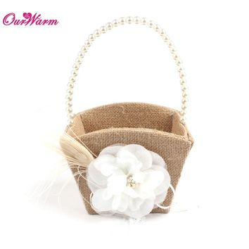 New arrival: Jute Burlap Flower Basket Wedding Basket for Flower Girls Natural Pearls Artificial Flower Girl Basket for Wedding Decoration