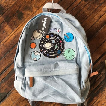 Outer Space alien 90s grunge denim backpack