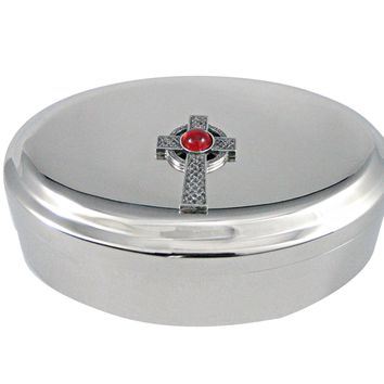 Textured Large Celtic Cross with Red Center Pendant Oval Trinket Jewelry Box