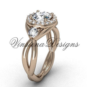 "Unique 14kt rose gold Three stone engagement ring, ""Forever One"" Moissanite VD8127"