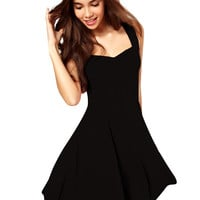 Black Sleeveless Sweartheart Neckline Skater Dress