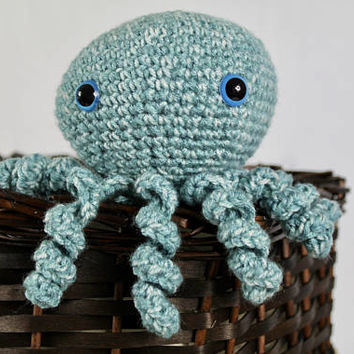 Chubby Stuffed 6 inch Octopus - Kids Toy - Seafoam Teal  - Ocean Decor -