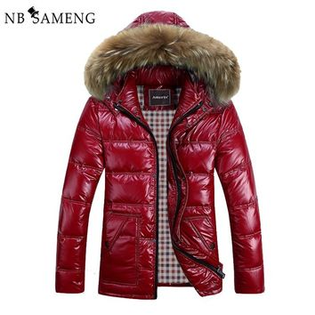 8XL Winter Jacket Men Down Jacket 2017 White Duck Down Thick Coat Hood Natural Pure Fur Collar Plus Size 6XL Windproof Parka