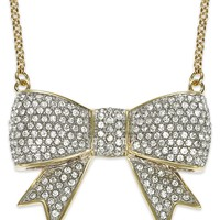 Juicy Couture Necklace, Gold-Tone Pave Glass Bow Pendant Necklace - Fashion Jewelry - Jewelry & Watches - Macy's