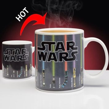 Star Wars Force Episode 1 2 3 4 5 Promotion  Lightsaber Heat Reveal Mug Color Change Coffee Cup Sensitive Morphing Mugs Temperature Sensing Birthday Gift AT_72_6