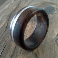 Wood Ring Desert Iron Wood with Fine Silver Inlay
