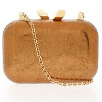 Boutique 1 - KOTUR - Bronze Margo Crinkled Metallic Clutch | Boutique1.com