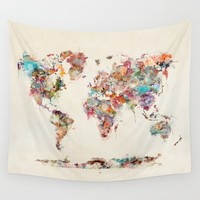 world map watercolor deux Wall Tapestry by bri.buckley